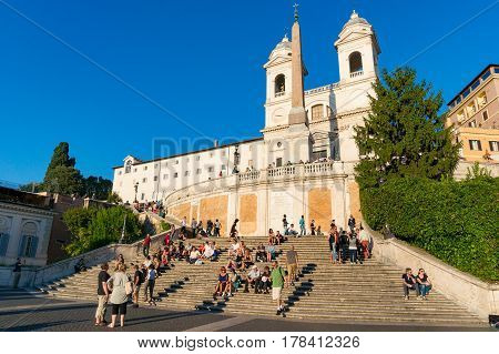 People Sitting On Spanish Steps. Rome, Italy