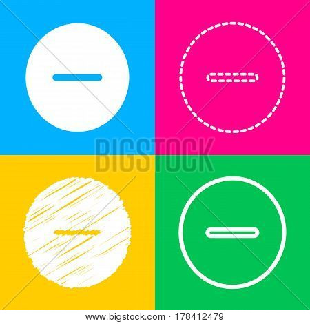 Negative symbol illustration. Minus sign. Four styles of icon on four color squares.