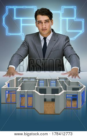 Designer working on 3d futuristic apartment design