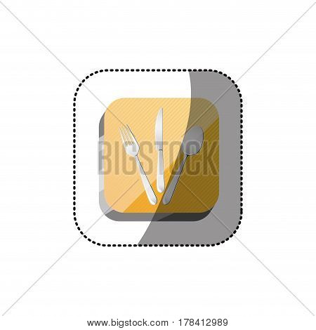 sticker color square 3d button with cutlery set vector illustration
