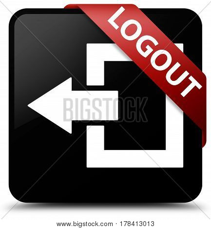 Logout Black Square Button Red Ribbon In Corner