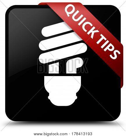 Quick Tips (bulb Icon) Black Square Button Red Ribbon In Corner