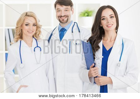 Team of doctors in a clinical office