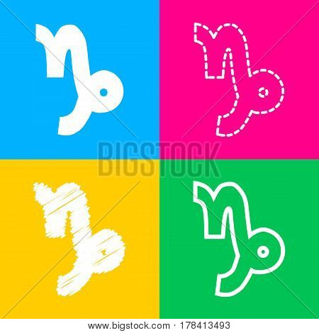 Capricorn sign illustration. Four styles of icon on four color squares.