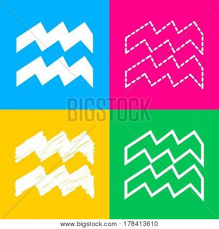 Aquarius sign illustration. Four styles of icon on four color squares.