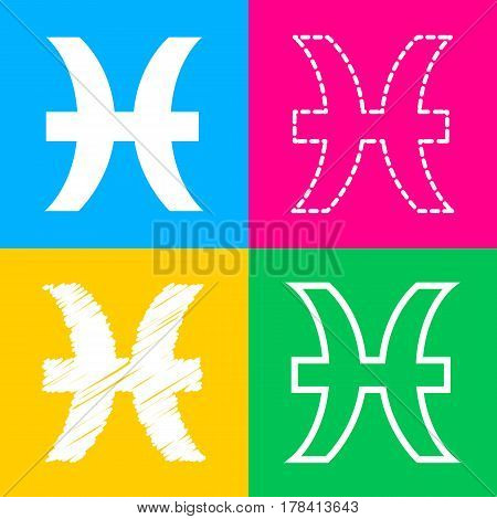 Pisces sign illustration. Four styles of icon on four color squares.