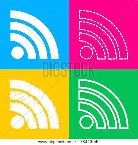 RSS sign illustration. Four styles of icon on four color squares.