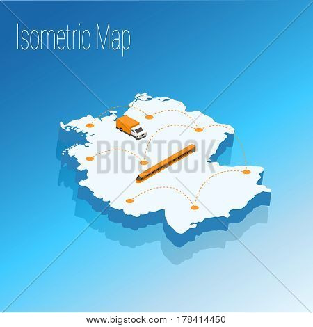 Map Germany isometric concept. 3d flat illustration of Map Germany.