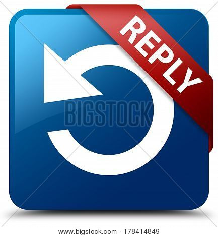 Reply (rotate Arrow Icon) Blue Square Button Red Ribbon In Corner