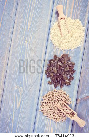 Vintage Photo, Sunflower, Pumpkin And Sesame Seeds, Healthy Nutrition Concept, Copy Space For Text O