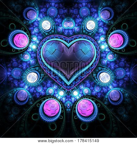 Abstract Ornamented Heart With Gems. Fantasy Detailed Fractal Background In Pink And Blue Colors. Di