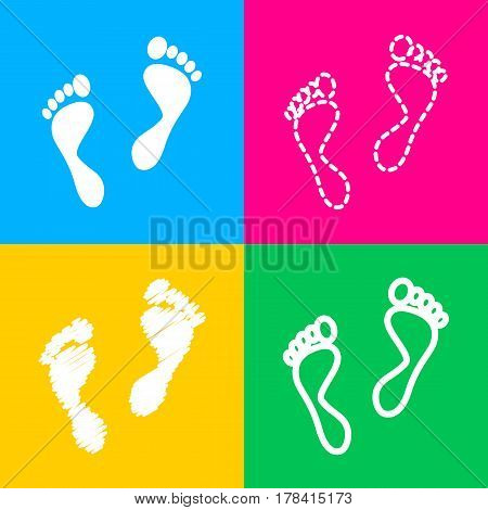 Foot prints sign. Four styles of icon on four color squares.