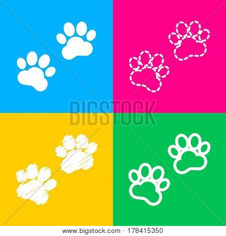Animal Tracks sign. Four styles of icon on four color squares.