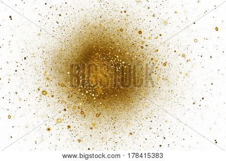 Abstract Golden Sparkles On White Background. Fantasy Fractal Texture. Digital Art. 3D Rendering.