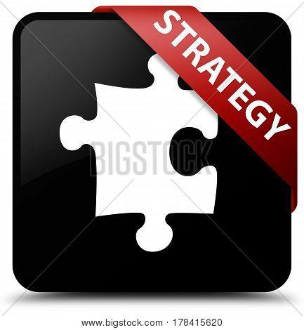 Strategy (puzzle Icon) Black Square Button Red Ribbon In Corner