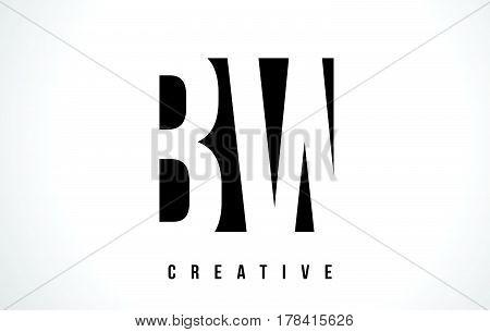 Bw B W White Letter Logo Design With Black Square.