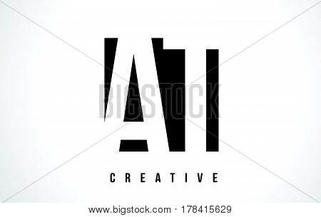 At A T White Letter Logo Design With Black Square.