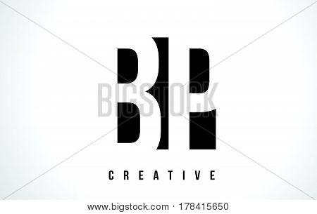 Bp B P White Letter Logo Design With Black Square.