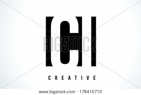 Ci C I White Letter Logo Design With Black Square.