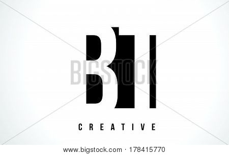 Bt B T White Letter Logo Design With Black Square.