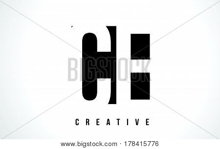 Ce C E White Letter Logo Design With Black Square.