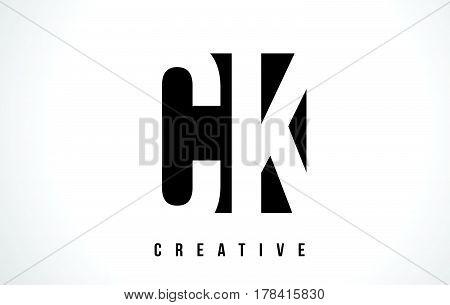 Ck C K White Letter Logo Design With Black Square.