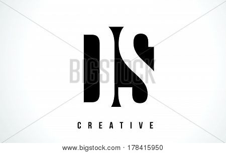 Ds D S White Letter Logo Design With Black Square.