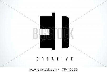 Ed E D White Letter Logo Design With Black Square.