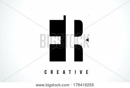 Fr F R White Letter Logo Design With Black Square.