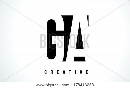 Ga G A White Letter Logo Design With Black Square.