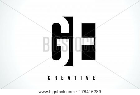 Ge G E White Letter Logo Design With Black Square.