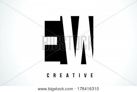 Ew E W White Letter Logo Design With Black Square.