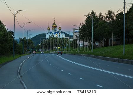 Petropavlovsk-Kamchatsky, Russia - August 14, 2016: Cathedral of the Trinity of the Life-Giving in the city of Petropavlovsk-Kamchatsky.