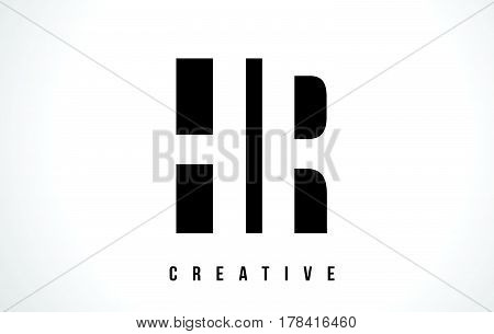 Hr H R White Letter Logo Design With Black Square.