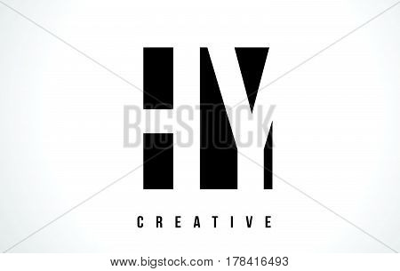 Hy H Y White Letter Logo Design With Black Square.