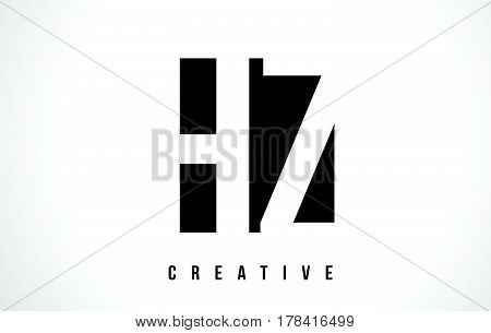 Hz H Z White Letter Logo Design With Black Square.