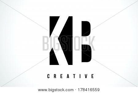 Kb K B White Letter Logo Design With Black Square.