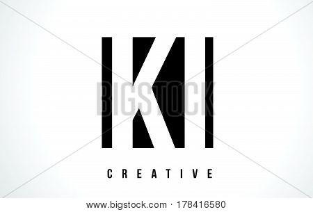 Ki K I White Letter Logo Design With Black Square.