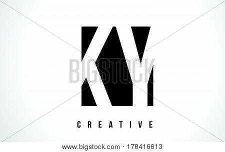 Ky K Y White Letter Logo Design With Black Square.