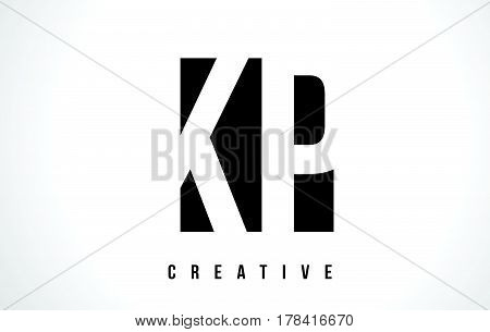 Kp K P White Letter Logo Design With Black Square.