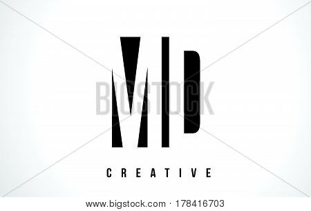 Md M D White Letter Logo Design With Black Square.