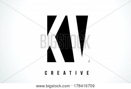 Kv K V White Letter Logo Design With Black Square.