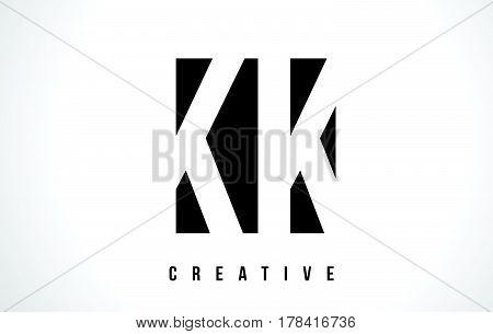 Kk K K White Letter Logo Design With Black Square.