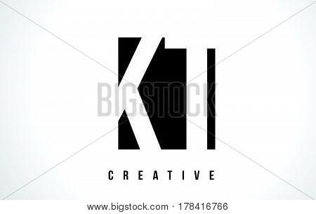Kt K T White Letter Logo Design With Black Square.
