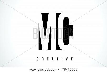 Mc M C White Letter Logo Design With Black Square.