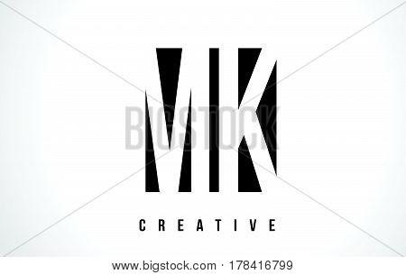 Mk M K White Letter Logo Design With Black Square.