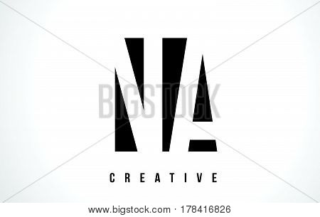 Na N A White Letter Logo Design With Black Square.