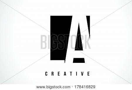 La L A White Letter Logo Design With Black Square.