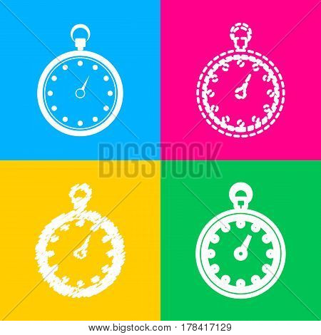 Stopwatch sign illustration. Four styles of icon on four color squares.