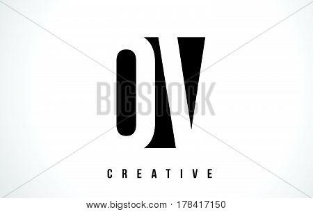 Ov O V White Letter Logo Design With Black Square.